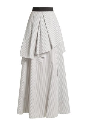 Tiered pinstriped cotton-poplin skirt