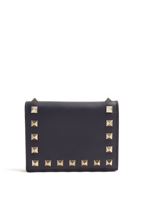 Rockstud French-flap leather wallet