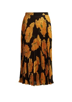 Poppy-print pleated midi skirt