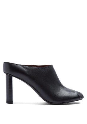 Ruched block-heel leather mules