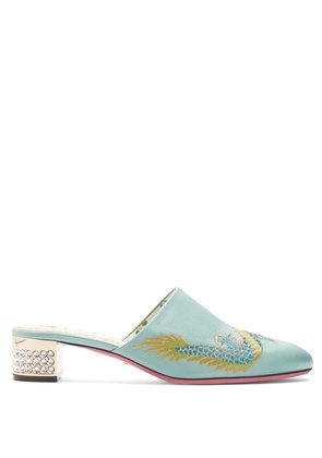 Crystal-embellished embroidered satin mules