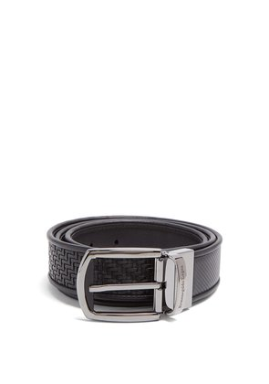 Reversible woven-leather belt