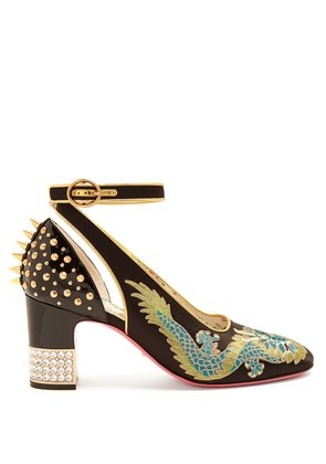 Caspar dragon-embroidered satin pumps