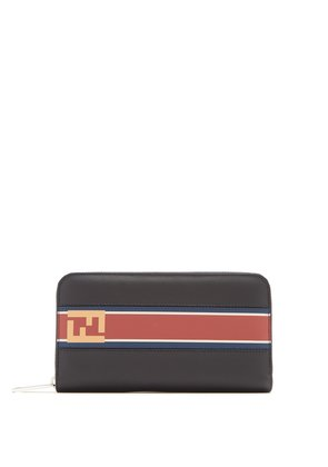 Stripe panel zip-around wallet