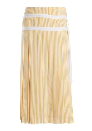 Clyde pleated striped silk wrap skirt