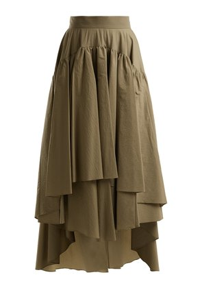 Layered cotton-blend midi skirt