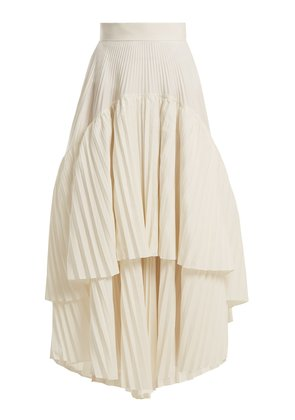 Pleated cotton-blend skirt