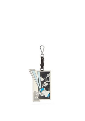 Saffiano-leather comic-strip key ring