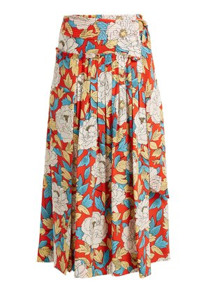 Boswell floral-print silk wrap skirt