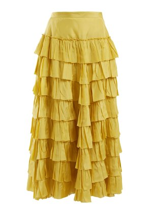 Ruffle-tiered habotai-silk skirt