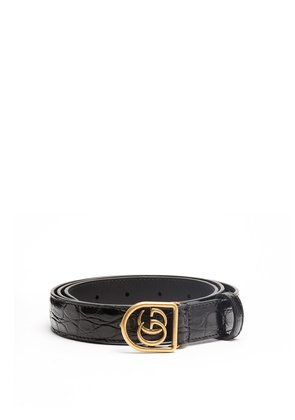 GG-encased buckle crocodile-leather belt