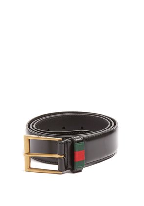 Web-stripe leather belt