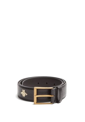 Star and bee-print leather belt
