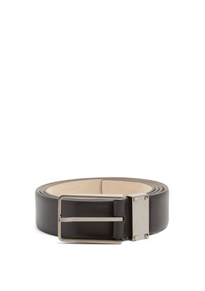 Rockstud grained-leather belt