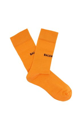 Logo-intarsia cotton-blend socks