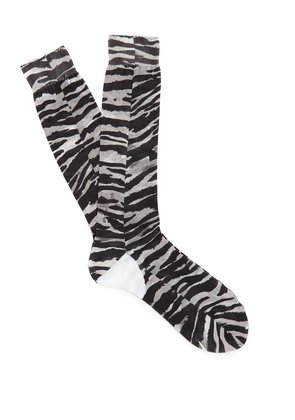 Tiger-print cotton socks