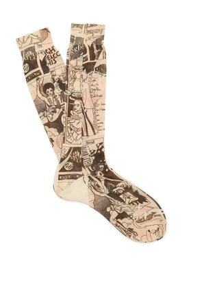 Comic-print cotton socks