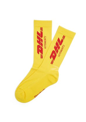 DHL-intarsia ribbed cotton-blend socks