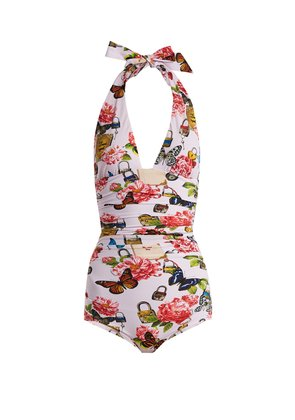 All The Lovers-print halterneck swimsuit