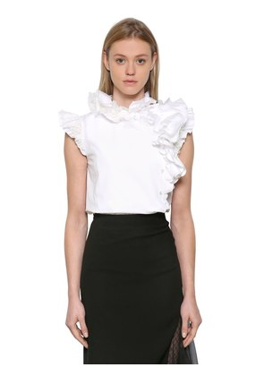 RUFFLED COTTON POPLIN & LACE TOP