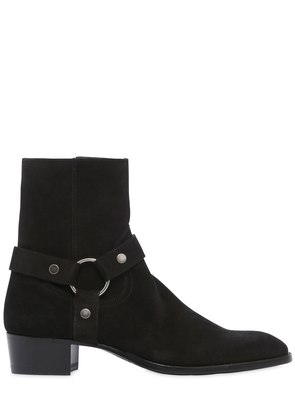 40MM WYATT BELTED SUEDE CROPPED BOOTS