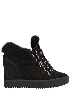 90MM SHEARLING & SUEDE SNEAKERS