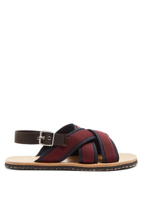 Cross-strap grosgrain sandals