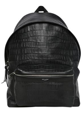 CROC EMBOSSED LEATHER BACKPACK