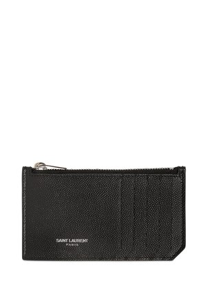 GRAINED LEATHER ZIP CARD HOLDER