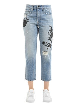 MARILYN EMBROIDERED COTTON DENIM JEANS