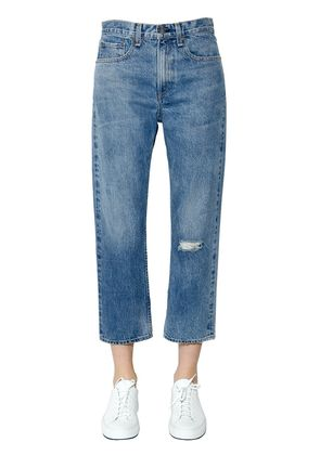 RIPPED STRAIGHT COTTON DENIM JEANS