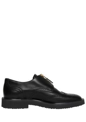 ZIP-UP WING TIP BROGUE LEATHER SHOES