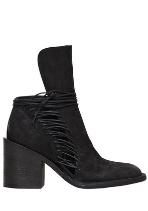 80MM LACE UP LEATHER ANKLE BOOTS