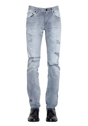 16.5CM DESTROYED COTTON DENIM JEANS