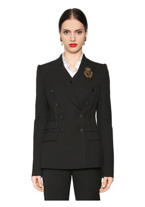 DOUBLE BREASTED STRETCH NATTÉ JACKET