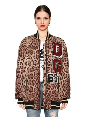 DG PATCHES LEOPARD QUILTED NYLON BOMBER