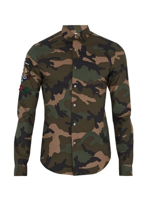 Tattoo-appliqué camouflage-print cotton shirt