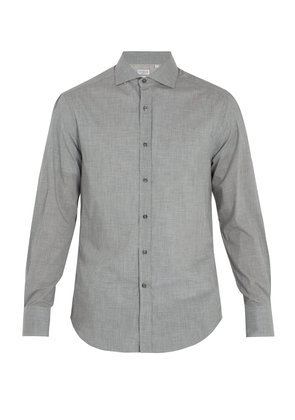 Spread-collar cotton shirt