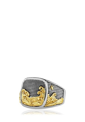 WAVES SIGNET GOLD & SILVER RING
