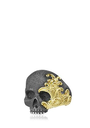 WAVES SKULL GOLD & SILVER RING