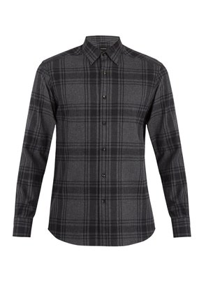Point-collar checked cotton shirt