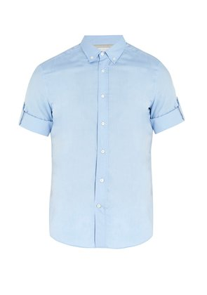 Point-collar short-sleeved cotton shirt