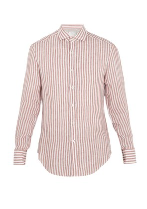 Striped spread-collar linen shirt