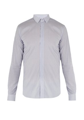 Convertible-cuff striped cotton-blend shirt