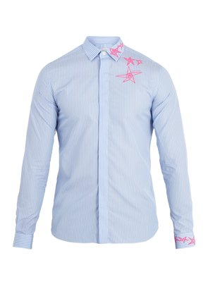 X Zandra Rhodes star-print striped cotton shirt