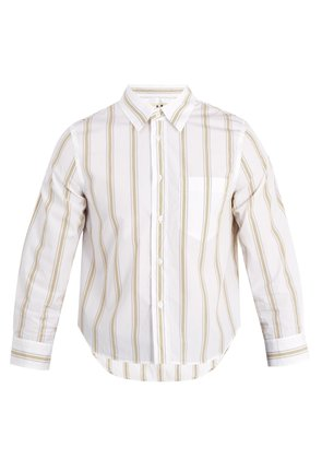 Shrunken-fit striped-cotton shirt
