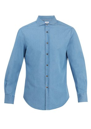 Slim-fit cotton-denim shirt