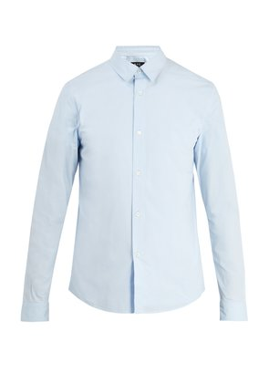Point-collar cotton-poplin shirt