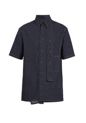 Denim short-sleeved shirt