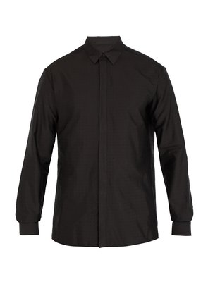 Polka-dot jacquard silk-blend shirt